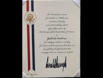 presidential award for excellence in teaching signed by Donald Trump