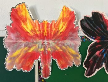 painting of butterfly by student at 15th Street Elementary School in Los Angeles
